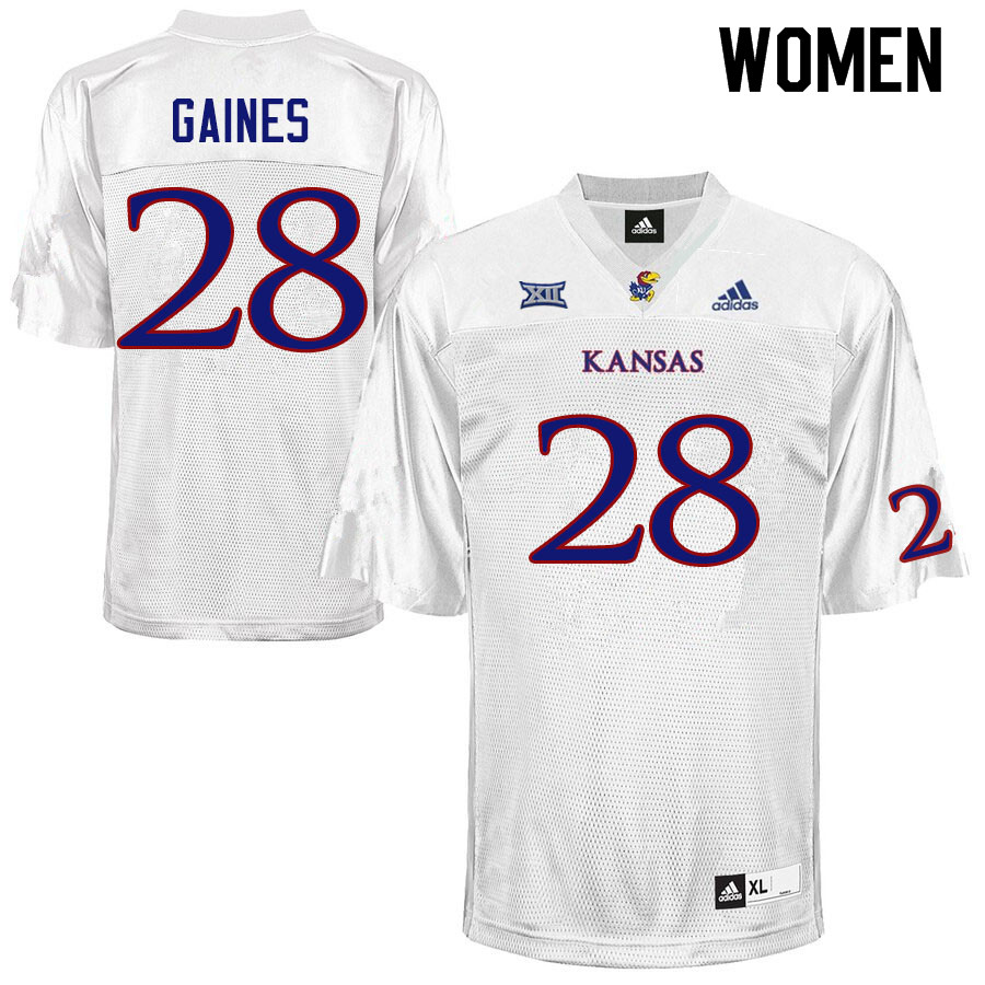 Women #28 Maurice Gaines Kansas Jayhawks College Football Jerseys Sale-White